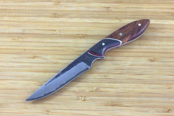 200mm Persian Neck Knife, Damascus, Carbon Fiber / Hardwood - 85grams