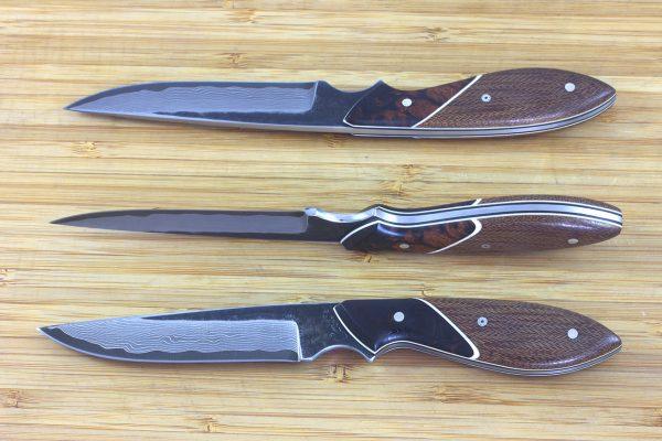 200mm Bird and Fish Neck Knife, Damascus, Tan Micarta / Ironwood - 84grams