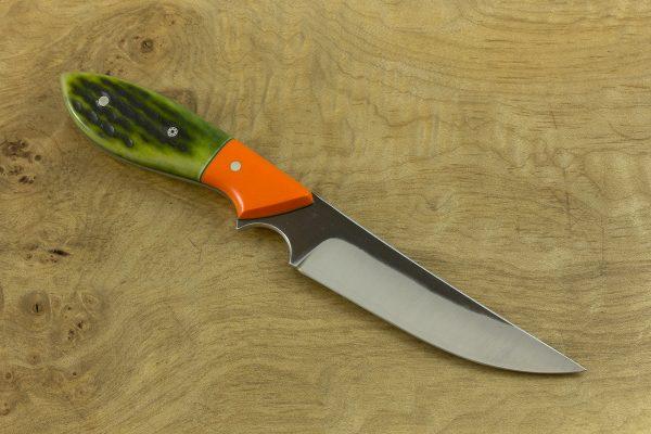200mm Persian Neck Knife, Forge Finish, G-10 / Green Jig Bone - 92grams