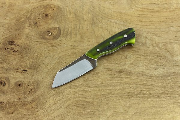 122mm Pipsqueek Brute Neck Knife, Forge Finish, Green Jig Bone - 44grams
