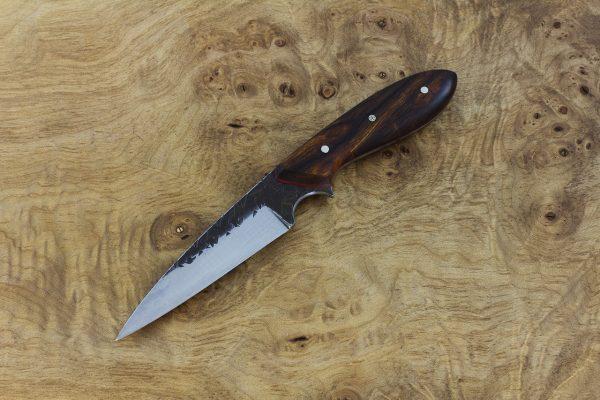 200mm Wharncliffe Pointy Neck Knife, Hammer Finish, Premium Ironwood - 83grams