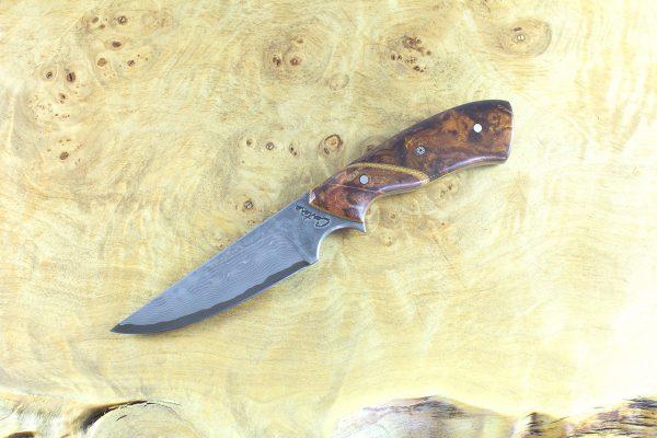 "191mm ""Sloko,"" Damascus, Ironwood w/ Stabilized Maple Bolster 100 grams"