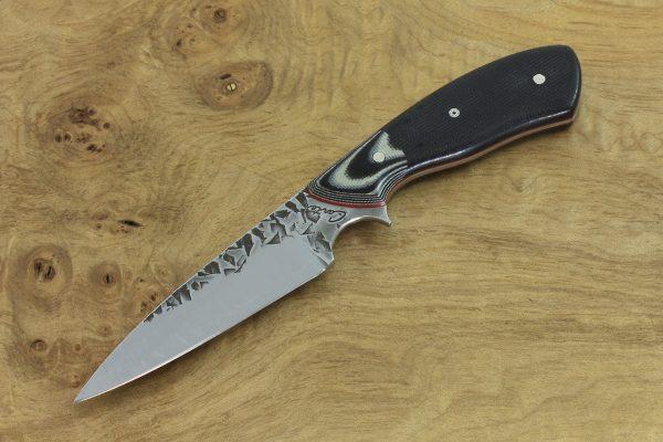 192mm Tetsuo's Neck Knife, Hammer Finish, G-10 / Micarta - 95grams