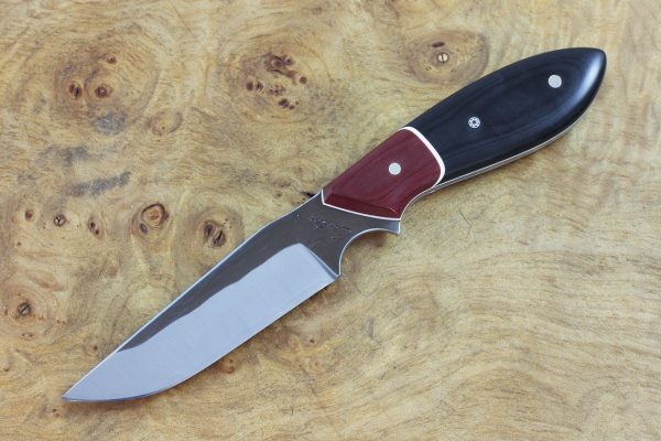 185mm Tombo Neck Knife, Forge Finish, Red and Black Micarta - 80grams