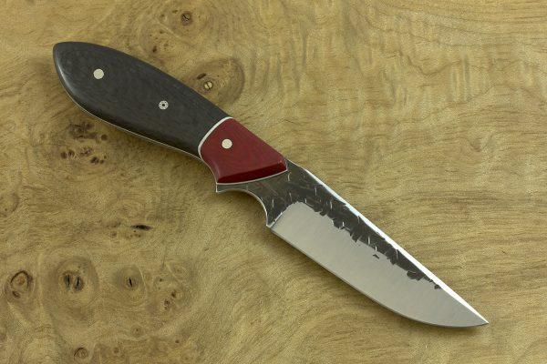 184mm Tombo Neck Knife, Hammer Finish, Micarta / Carbon Fiber - 85grams