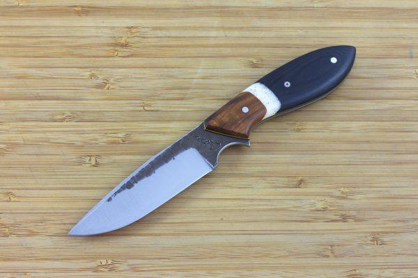 190mm Vex Clip Neck Knife, Hammer Finish, Ironwood / Micarta - 90grams