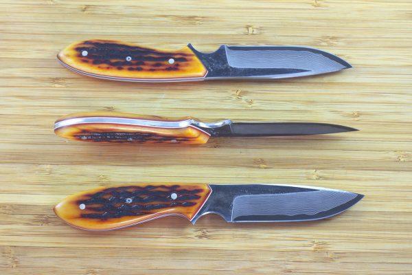 190mm Vex Clip Neck Knife, Damascus, Amber Jig Bone - 103grams