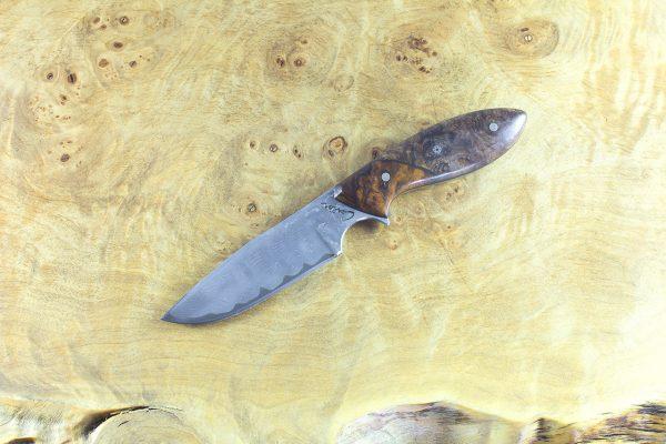 173mm Vex Clip Junior Neck Knife, Damascus, Stabilized Maple w/ Ironwood Bolster - 77 grams