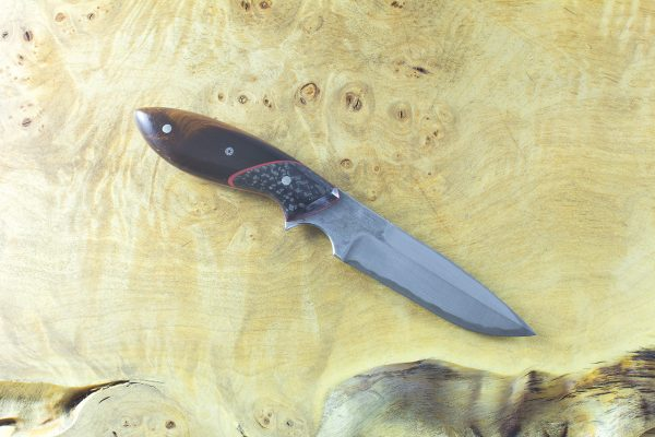 179mm Vex Clip Junior Freestyle Neck Knife, Damascus, Ironwood w/ Carbon Fiber Bolster - 72 grams
