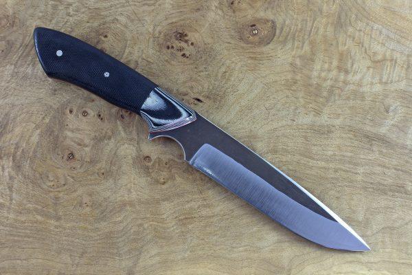 250mm Whitecrane Standard, Forge Finish, Grey and Black G-10 / Black Micarta - 154grams