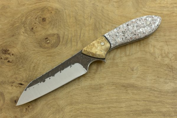 186mm Wharncliffe Brute Neck Knife, Hammer Finish, Maple / Corian - 82grams