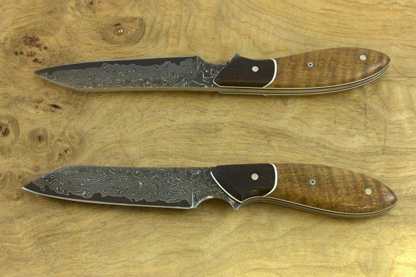 189mm Wharncliffe Brute Neck Knife, Damascus, Ironwood / Mango Tree - 79grams