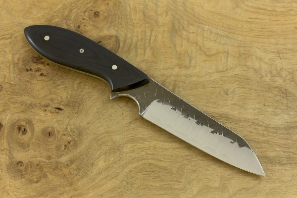 206mm Jumbo Wharncliffe Brute, Hammer Finish, Black Micarta - 102grams
