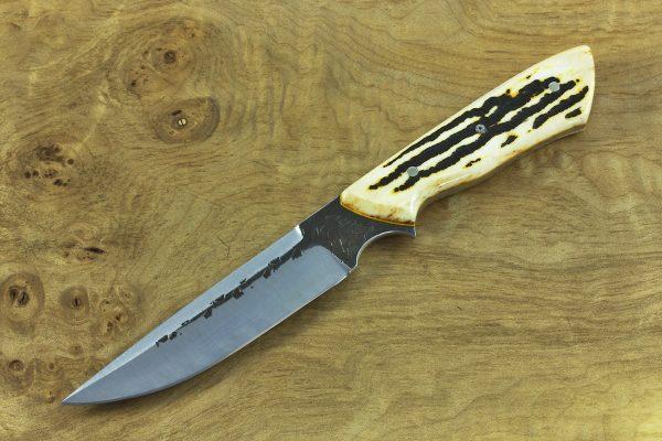 221mm Compact Whitecrane, Dagger Grind, Hammer Finish, White Jig Bone - 123grams