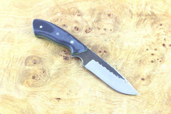 198mm Aviator Neck Knife, Hammer Finish, Navy Blue Canvas Micarta - 96grams
