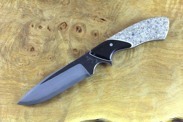196mm Aviator Neck Knife, Damascus, Corian w/ Black Paper Micarta Bolster - 105 grams