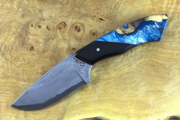206mm Kajiki Neck Knife, Damascus, (BWP) ShokWood w/ Black Paper Micarta Bolster - 156 grams