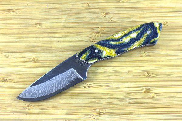 192mm Kajiki Neck Knife, Damascus, Shadetree 'Starry Night' Burlap Composite w/ Embedded Glow Resin - 131 grams