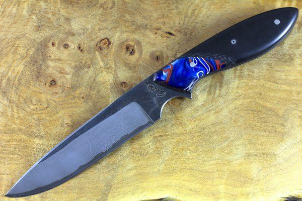 233mm Utility Knife, Damascus, Black Paper Micarta w/ Kirinite Bolster - 136 grams