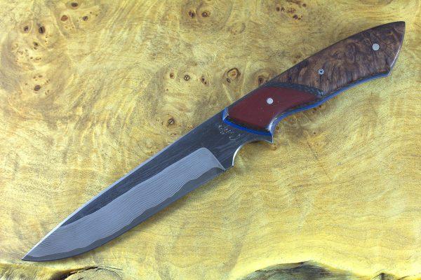 251mm Whitecrane Standard, Damascus, Hardwood Burl w/ Red G10 Bolster - 158 grams