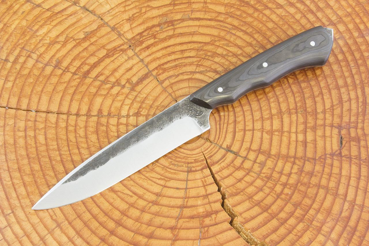 250 mm FS1 Knife #64, Blue Steel w/ Damascus, Unidirectional Carbon Fiber -  140 grams