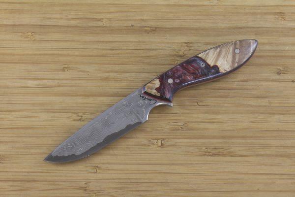 178mm Original Neck Knife, Damascus, Shokwood w/ Carbon Fiber- 73 grams