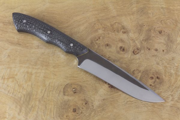 229mm Compact FS1 Knife #42, Stainless 410 White Steel, F40 Unidirectional Carbon Fiber w/ Yellow Liners - 131 Grams