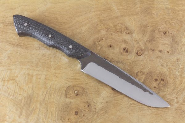 229mm Compact FS1 Knife #43, Stainless 410 White Steel, Carbon Fiber w/ Green Liners - 133 Grams