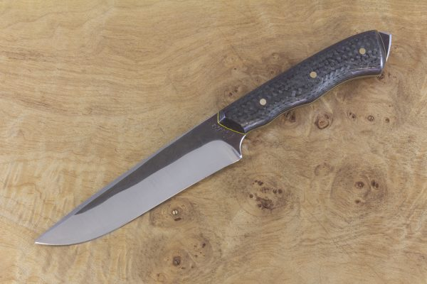 229mm Compact FS1 Knife #45, Stainless 410 White Steel, F40 Unidirectional Carbon Fiber w/ Yellow Liners - 130 Grams