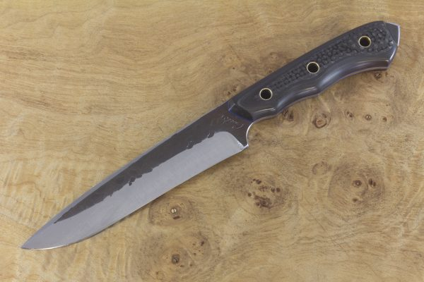 244mm FS1 Knife #46, Stainless 410 White Steel, F40 Unidirectional Carbon Fiber w/ Blue Liners - 149 Grams