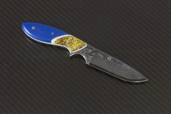 174mm Vex Clip Junior Neck Knife, Damascus, Blue G10 w/ Dyed Maple Bolster - 80 Grams