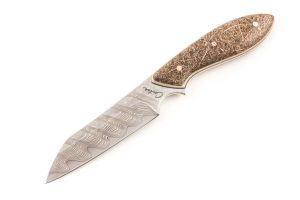 "3.74"" Carter #1616 White/Damascus Wharncliffe Brute"